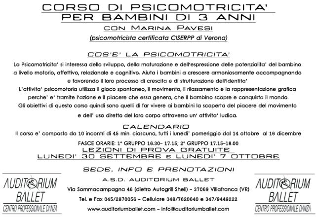 Corso di psicomotricità per bambini di 3 anni a Villafranca (VR)